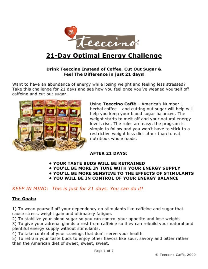 21-Day Optimal Energy Challenge                  Drink Teeccino Instead of Coffee, Cut Out Sugar &                        ...