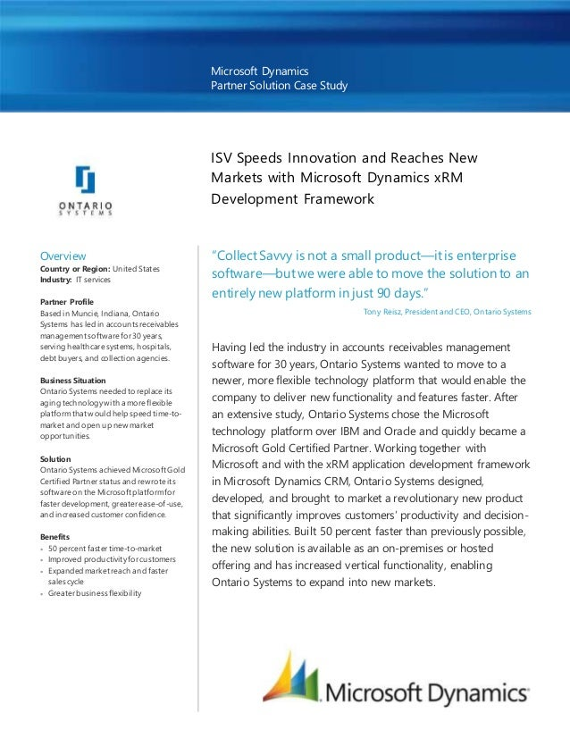 Microsoft Dynamics Partner Solution Case Study ISV Speeds Innovation and Reaches New Markets with Microsoft Dynamics xRM D...
