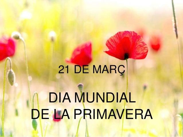 21 DE MARÇ DIA MUNDIAL DE LA PRIMAVERA