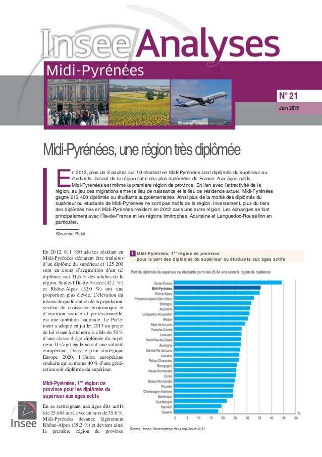 Midi-Pyrénées,unerégiontrèsdiplômée E n 2012, plus de 3 adultes sur 10 résidant en Midi-Pyrénées sont diplômés du supérieu...