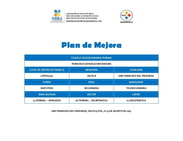Plan de Mejora ESCUELA TELESECUNDARIA FEDERAL FRANCISCO GONZALEZ BOCANEGRA CLAVE DE CENTRO DE TRABAJO  MUNICIPIO  LOCALIDA...