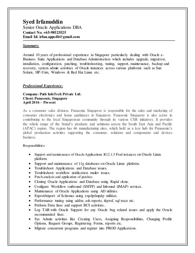 Updated resume(Senior Oracle Applications DBA)