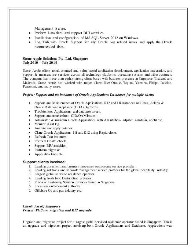 updated resume senior oracle applications dba