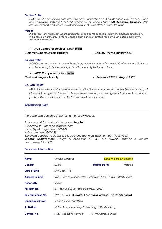 company biodata
