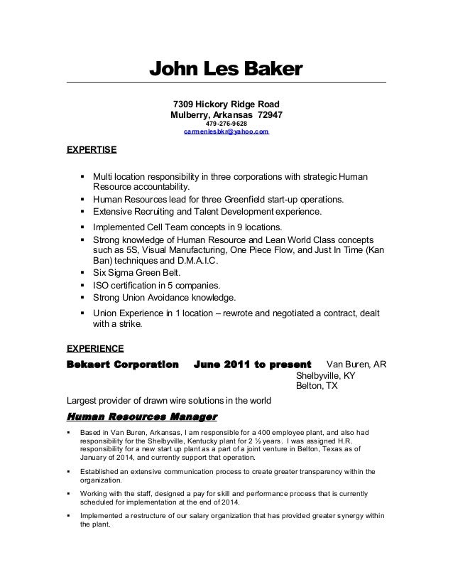 Les Baker ResumeHuman Resources Manager