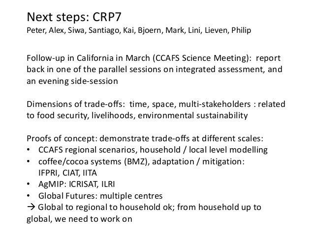 Next steps: CRP7Peter, Alex, Siwa, Santiago, Kai, Bjoern, Mark, Lini, Lieven, PhilipFollow-up in California in March (CCAF...