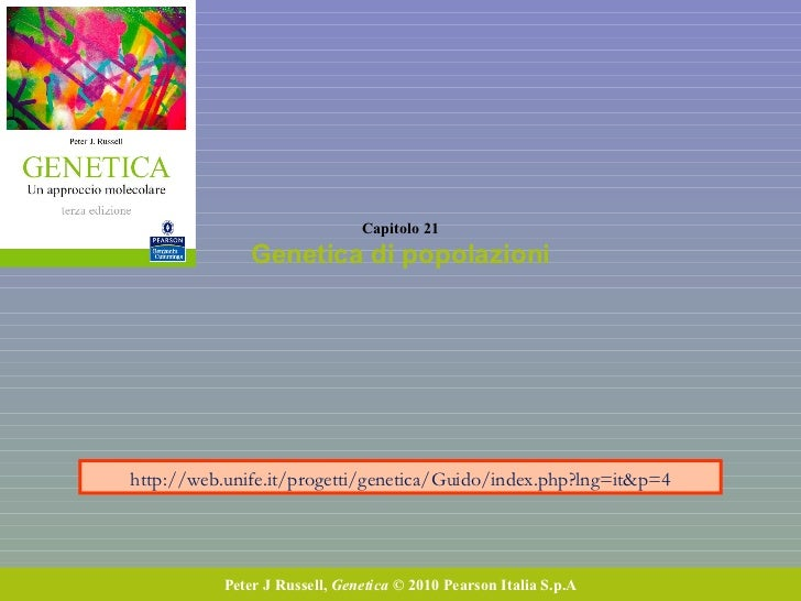 Capitolo 21 Genetica di popolazioni Peter J Russell,  Genetica  © 2010 Pearson Italia S.p.A http://web.unife.it/progetti/g...