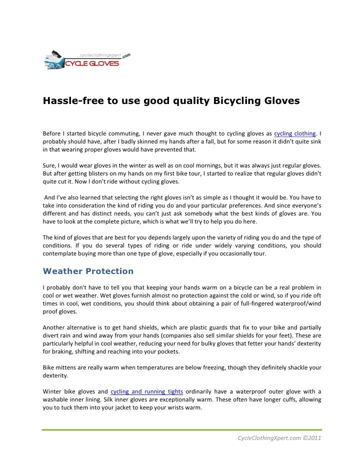Hassle Free To Use Good Quality Bicycling Glovesbefore I Started Bicycle Commuting