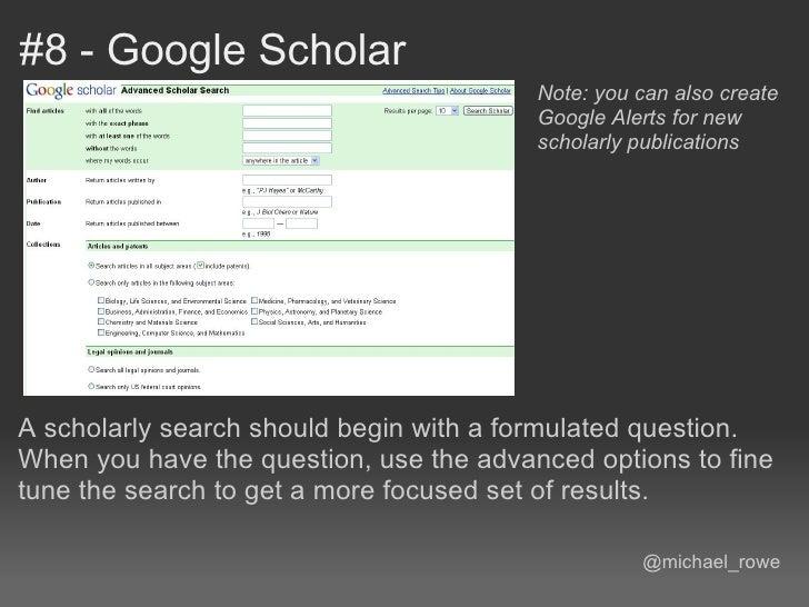 #8 - Google Scholar                                         Note: you can also create                                     ...