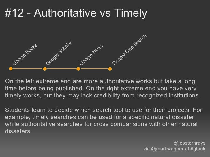 #12 - Authoritative vs TimelyOn the left extreme end are more authoritative works but take a longtime before being publish...