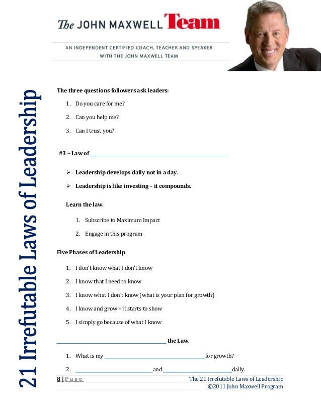 21 laws worksheet laws123blank – Leadership Worksheets