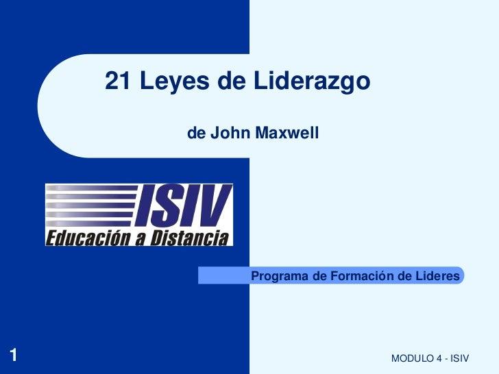 21 Leyes De Liderazgo
