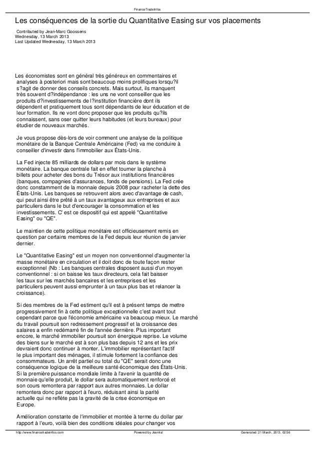 FinanceTradeInfosLes conséquences de la sortie du Quantitative Easing sur vos placements Contributed by Jean-Marc Goossens...