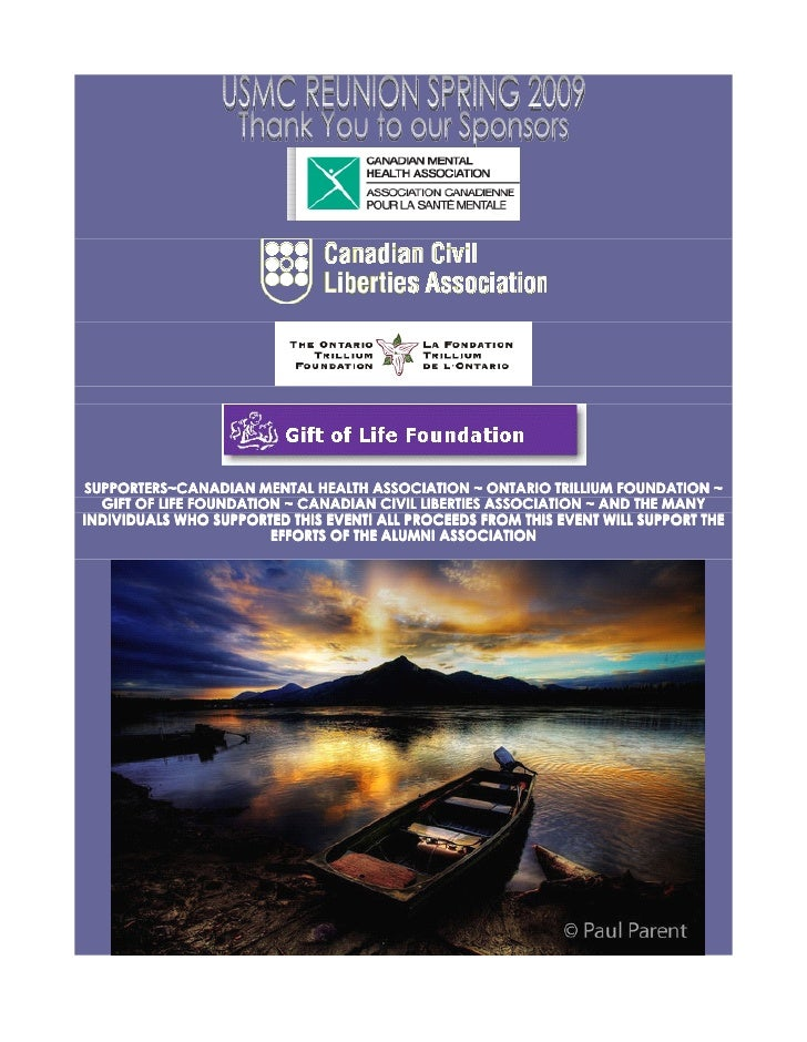 SUPPORTERS~CANADIAN MENTAL HEALTH ASSOCIATION ~ ONTARIO TRILLIUM FOUNDATION ~   GIFT OF LIFE FOUNDATION ~ CANADIAN CIVIL L...