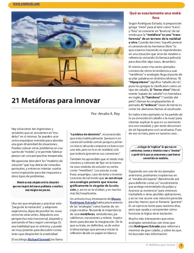 """21 Metáforas para innovar Hay soluciones tan ingeniosas y versátiles que se convierten en""""mo- delos""""en sí mismas. Se puede..."""