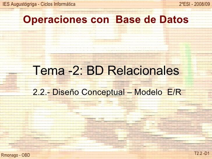 Operaciones con  Base de Datos Tema -2: BD Relacionales 2.2.- Diseño Conceptual – Modelo  E/R