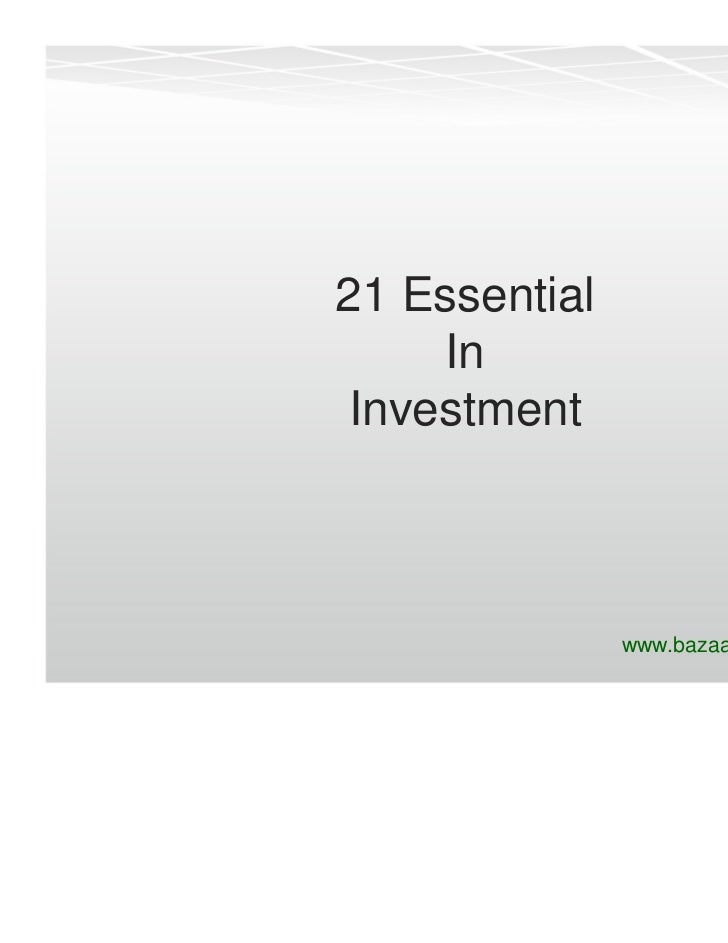 21 Essential     In Investment               www.bazaaredge.com/blog