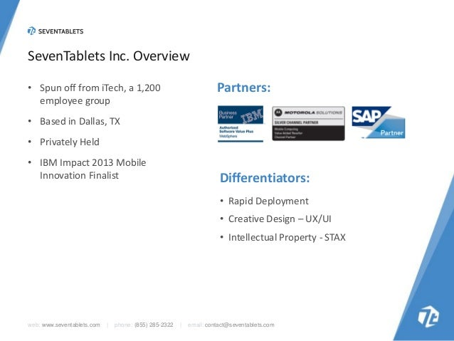 SevenTablets Inc. Overview Partners:  • Spun off from iTech, a 1,200 employee group • Based in Dallas, TX • Privately Held...