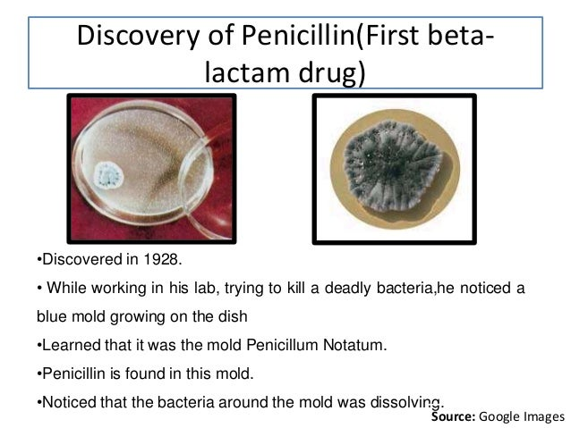 Discovery of Penicillin(First beta- lactam drug) •Discovered in 1928. • While working in his lab, trying to kill a deadly ...