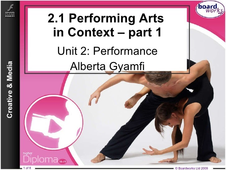 2.1 Performing Arts  in Context – part 1 Unit 2: Performance Alberta Gyamfi