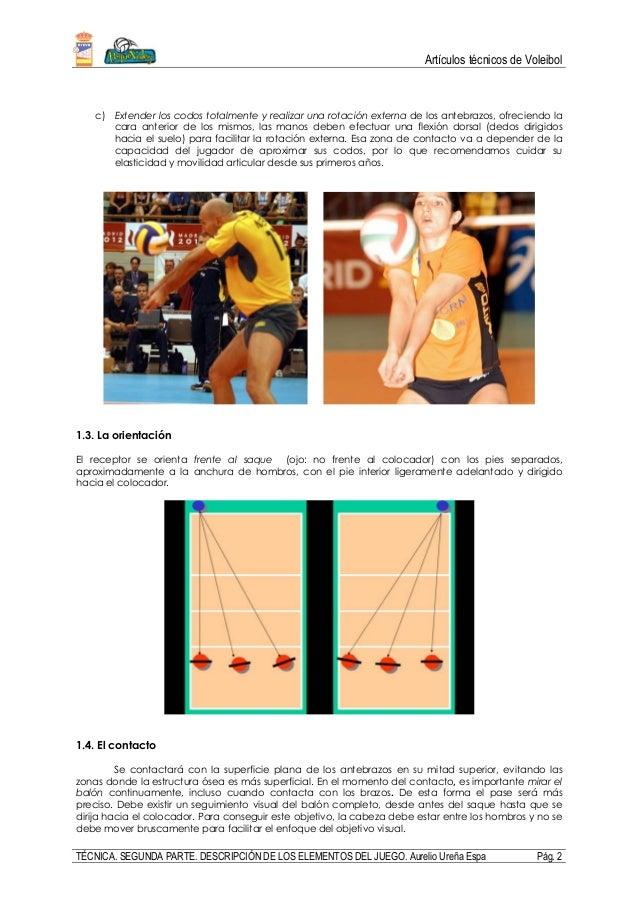 Artículos técnicos de Voleibol TÉCNICA. SEGUNDA PARTE. DESCRIPCIÓN DE LOS ELEMENTOS DEL JUEGO. Aurelio Ureña Espa Pág. 2 c...