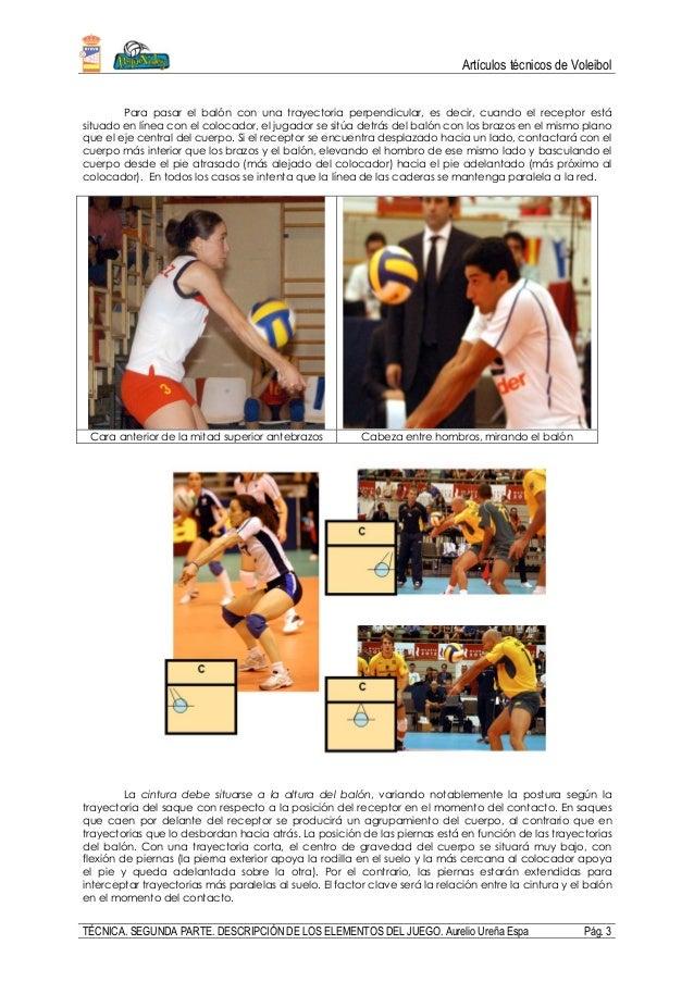 Artículos técnicos de Voleibol TÉCNICA. SEGUNDA PARTE. DESCRIPCIÓN DE LOS ELEMENTOS DEL JUEGO. Aurelio Ureña Espa Pág. 3 P...
