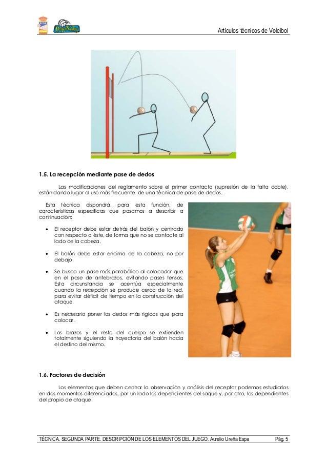 Artículos técnicos de Voleibol TÉCNICA. SEGUNDA PARTE. DESCRIPCIÓN DE LOS ELEMENTOS DEL JUEGO. Aurelio Ureña Espa Pág. 5 1...
