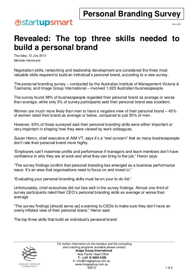 Personal Branding Survey                                                                                                Re...