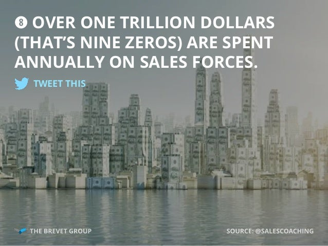 i OVER ONE TRILLION DOLLARS (THAT'S NINE ZEROS) ARE SPENT ANNUALLY ON SALES FORCES. TWEET THIS