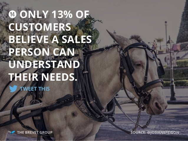 g ONLY 13% OF CUSTOMERS BELIEVE A SALES PERSON CAN UNDERSTAND THEIR NEEDS. TWEET THIS