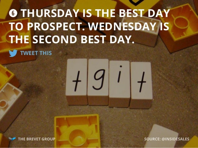 y THURSDAY IS THE BEST DAY TO PROSPECT. WEDNESDAY IS THE SECOND BEST DAY. TWEET THIS