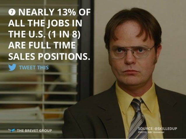 u NEARLY 13% OF ALL THE JOBS IN THE U.S. (1 IN 8) ARE FULL TIME SALES POSITIONS. TWEET THIS