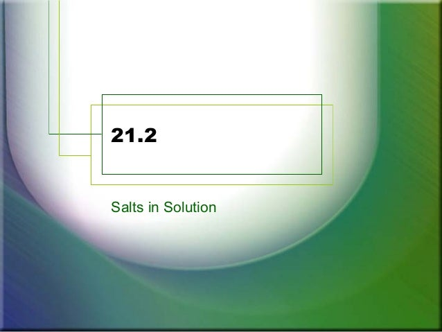 21.2 Salts in Solution