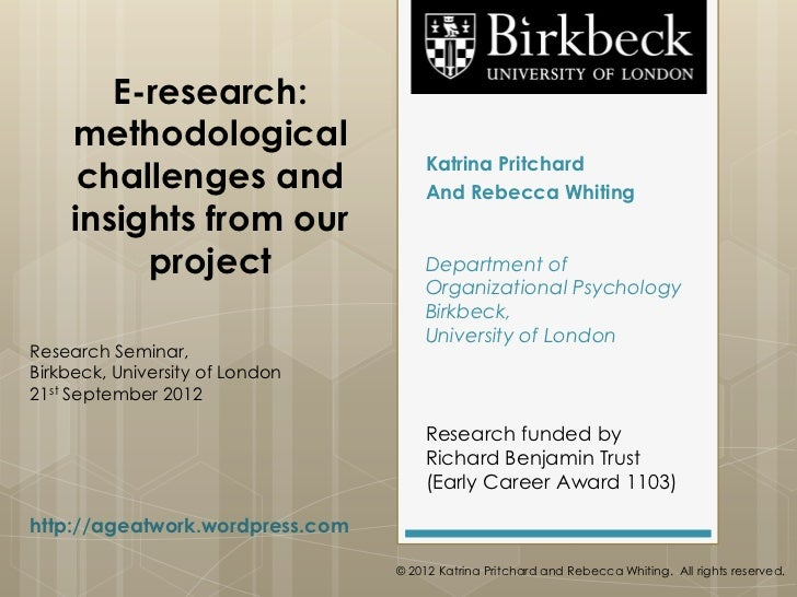 E-research:    methodological                                     Katrina Pritchard     challenges and                  An...