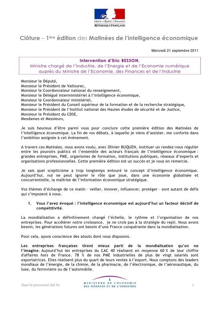 Clôture – 1ère édition des Matinées de l'intelligence économique                                                          ...