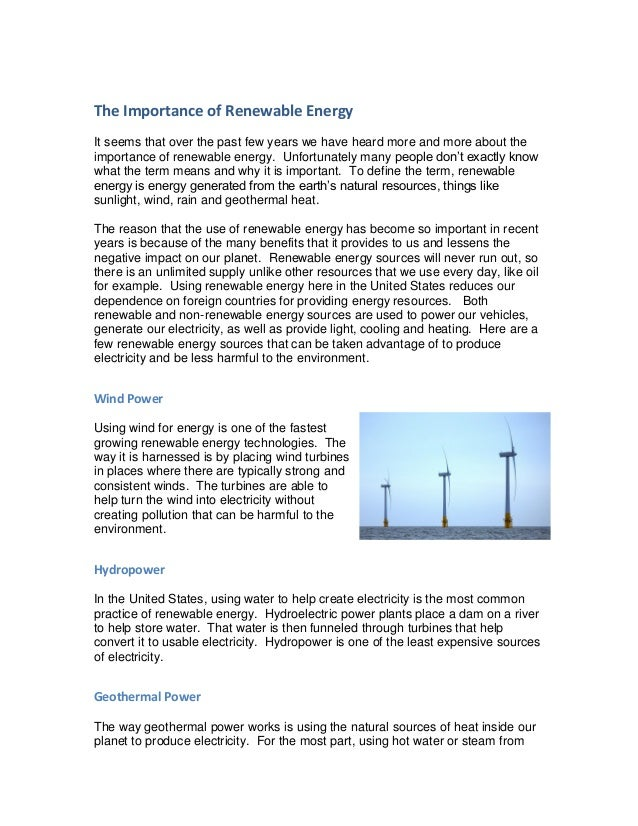 The Importance of Renewable Energy