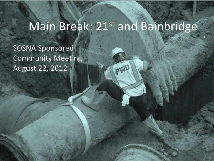 Main Break: 21st and BainbridgeSOSNA SponsoredCommunity MeetingAugust 22, 2012