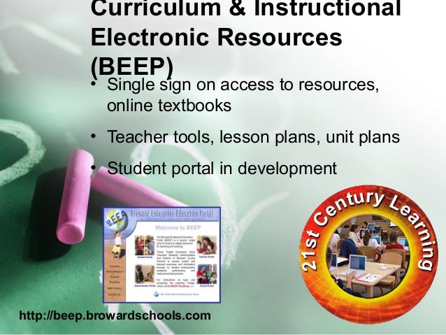 Curriculum & Instructional  Electronic Resources  (BEEP) • Single sign on access to resources,  online textbooks  • Teache...