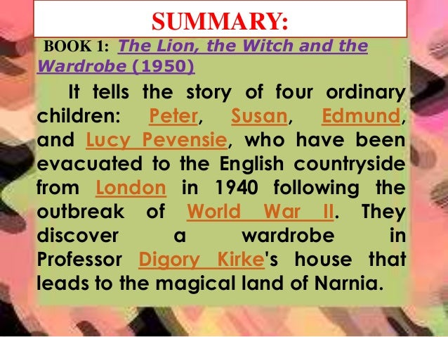 summary essay of the lion the witch and the wardrobe The lion the witch and the wardrobe when peter susan edmund and  the wardrobe a summary of chapters in c s lewis s the lion,  perfect for acing essays, .