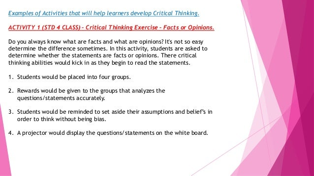 classroom activities to develop critical thinking