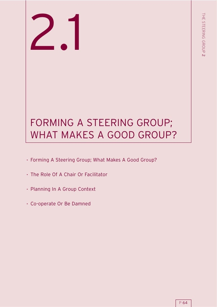 THE STEERING GROUP 2 2.1  FORMING A STEERING GROUP;  WHAT MAKES A GOOD GROUP?  . Forming A Steering Group; What Makes A Go...
