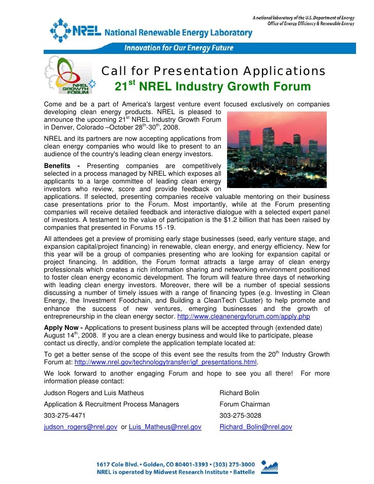 Call for Presentation Applications                     21st NREL Industry Growth ForumCome and be a part of Americas large...