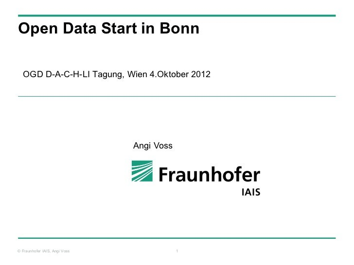 Open Data Start in Bonn  OGD D-A-C-H-LI Tagung, Wien 4.Oktober 2012                               Angi Voss© Fraunhofer IA...