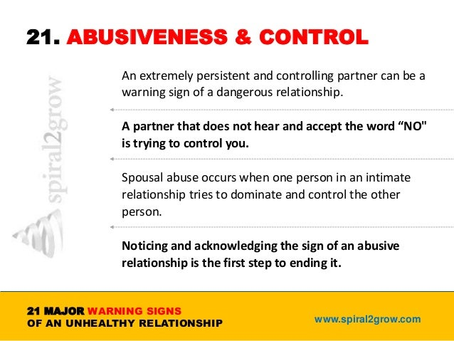 Controlling Relationship Early Warning Signs