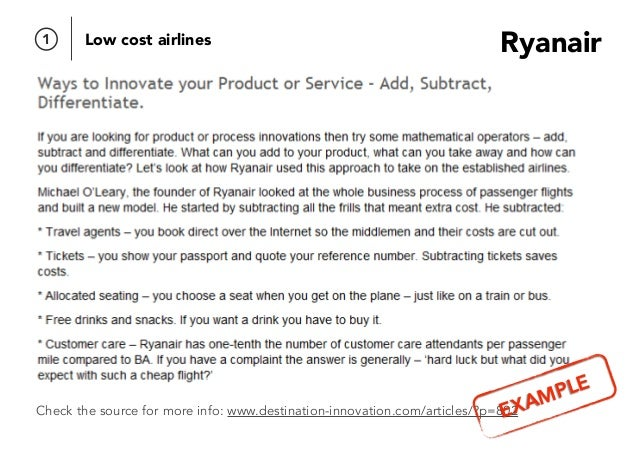 Check the source for more info: www.destination-innovation.com/articles/?p=802 Ryanair1 Low cost airlines EXAMPLE