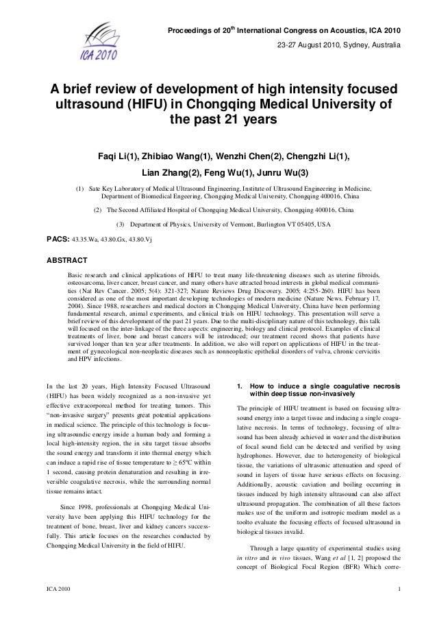 Proceedings of 20 th International Congress on Acoustics, ICA 2010 23-27 August 2010, Sydney, Australia ICA 2010 1 A brief...