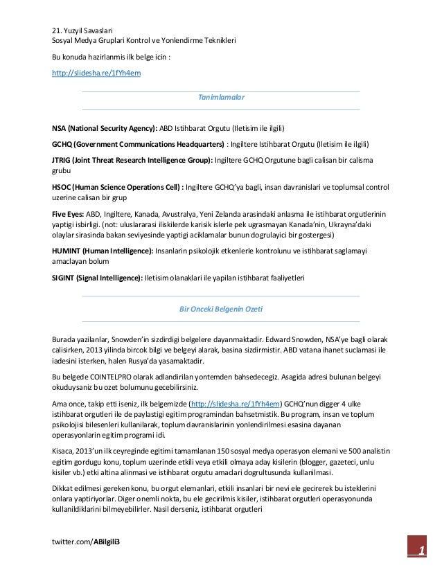 21. Yuzyil Savaslari Sosyal Medya Gruplari Kontrol ve Yonlendirme Teknikleri twitter.com/ABilgili3 1 Bu konuda hazirlanmis...