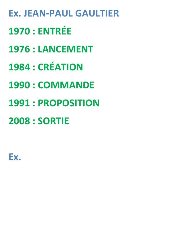 Ex. JEAN-PAUL GAULTIER1970 : ENTRÉE1976 : LANCEMENT1984 : CRÉATION1990 : COMMANDE1991 : PROPOSITION2008 : SORTIEEx.