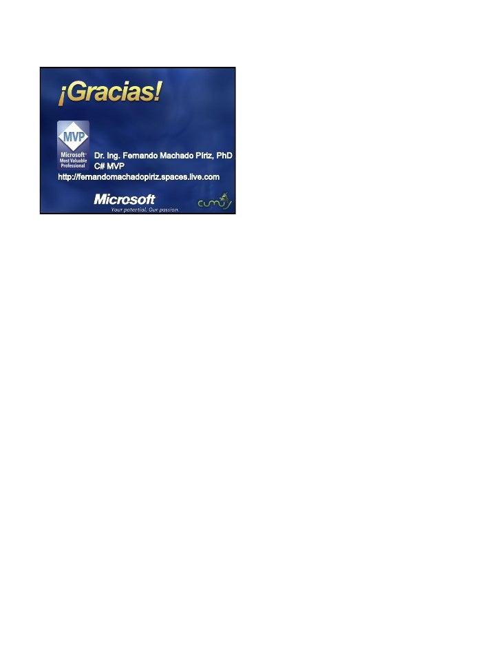 (22.04.2009) Cumuy Presenta -  Novedades en la plataforma de desarrollo .NET - PPT Machado