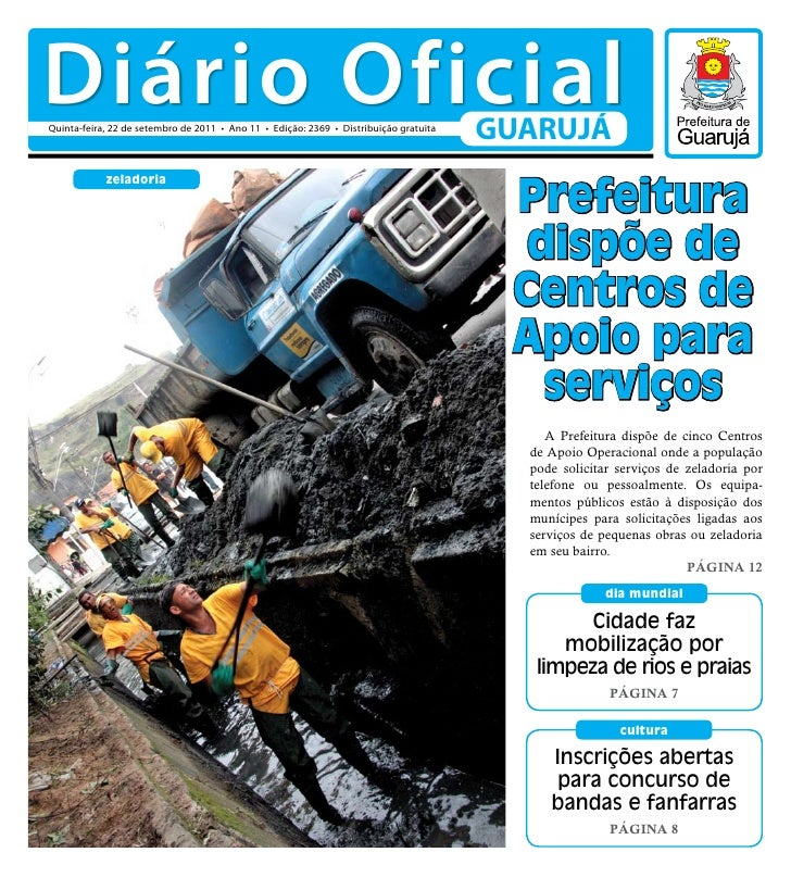 Diário OficialQuinta-feira, 22 de setembro de 2011 • Ano 11 • Edição: 2369 • Distribuição gratuita                        ...